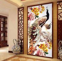Sale Fashion 5D Round Diamond Painting Cross Stitch Diamond Embroidery Paste For Peacocks 100x50cm