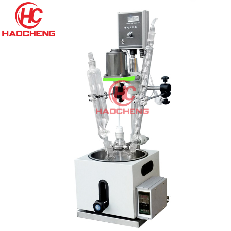 Free shipping 2L Lab Single Layer Chemical Stirring Glass Reactor