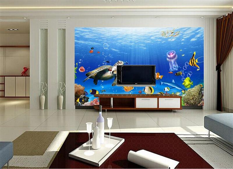 3d Wallpaper Custom Size Photo Mural Living Room Seaworld Turtle Jellyfish  Fish Painting 3d Wall Murals Wallpaper For Walls 3 D In Wallpapers From  Home ... Part 53
