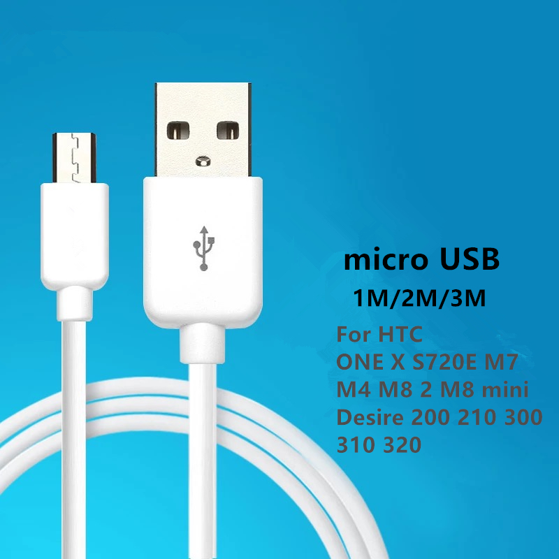 Charging Cable Micro USB2.0 Data sync Charger Cable 1M 2M 3M For HTC ONE X S720E M7 M4 M8 2 M8 mini Desire 200 210 300 310 320