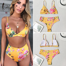 Miyouj Sexy Leopard Bikini High Waist Push Up Swimsuit Female Print Swimwear Yellow Bathing Suit Women biquini Floral Bikini Set