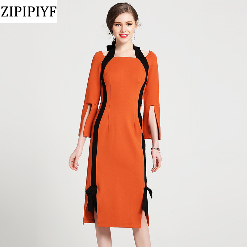 ZIPIPIYF hot Slim Pencil dress 2018 new luxury spring Work Women Clothing Package hip Party Dress lady Elegant yellow dresses women work dress longsleeve spring new european station grid pencil skirt fake two professional dress l13