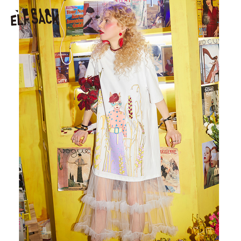 ELF SACK Cotton Casual Mesh Patchwork Women Dresses Fashion Sweet White Party Dress Woman Streetwear Clothing