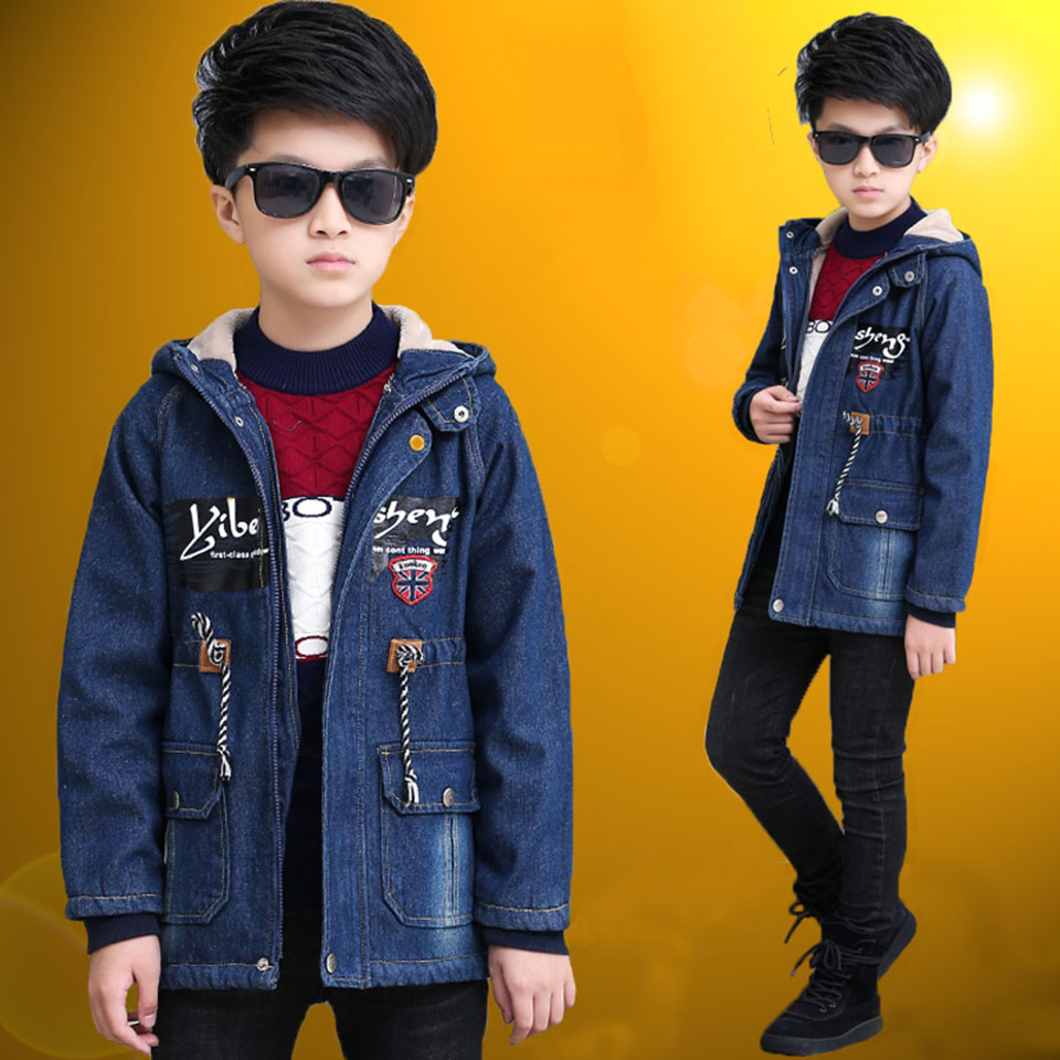Children Wear Warm Denim Outerwear Winter Jackets Coats 2018 New Baby Boy Parkas Mid Big Boys Hoodie Quality Baby Boy Clothes glo story teenage boys winter jackets children boy 2018 casual streetwear patchwork with tape zipper hoodie parkas coats