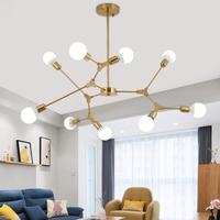 Modern LED Chandelier Lighting Fixtures Iron Chandeliers Gold And Black Shape Changeable Nordic Lamp For Indoor Lighting