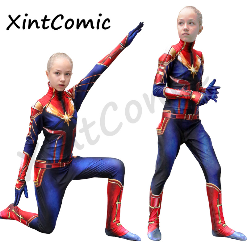 New Arrival Girls Captain Marvel Cosplay Costume Children Superhero Ms Marvel Carol Danvers Bodysuit Jumpsuit Halloween Kids