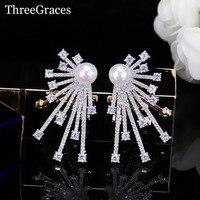 ThreeGraces Yeni 925 Ayar Gümüş Geometrik Şekil Kübik Zirkon CZ Taş Büyük Boy Saplama Küpe Kadınlar İnci Takı ER327