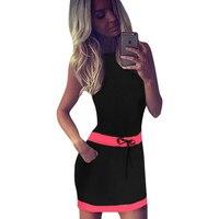 Mini Beach Dress Candy Colors Sleeveless Bohemain Style Dresses Woman Fashion Waist Dress Tunic Vestidos Female