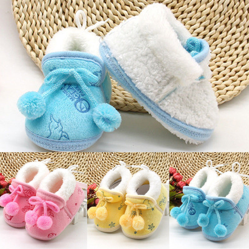 Sneaker Toddler Shoes Soft-Sole Newborn-Baby Girls Warm Cotton 0-18M Lace-Up Kids