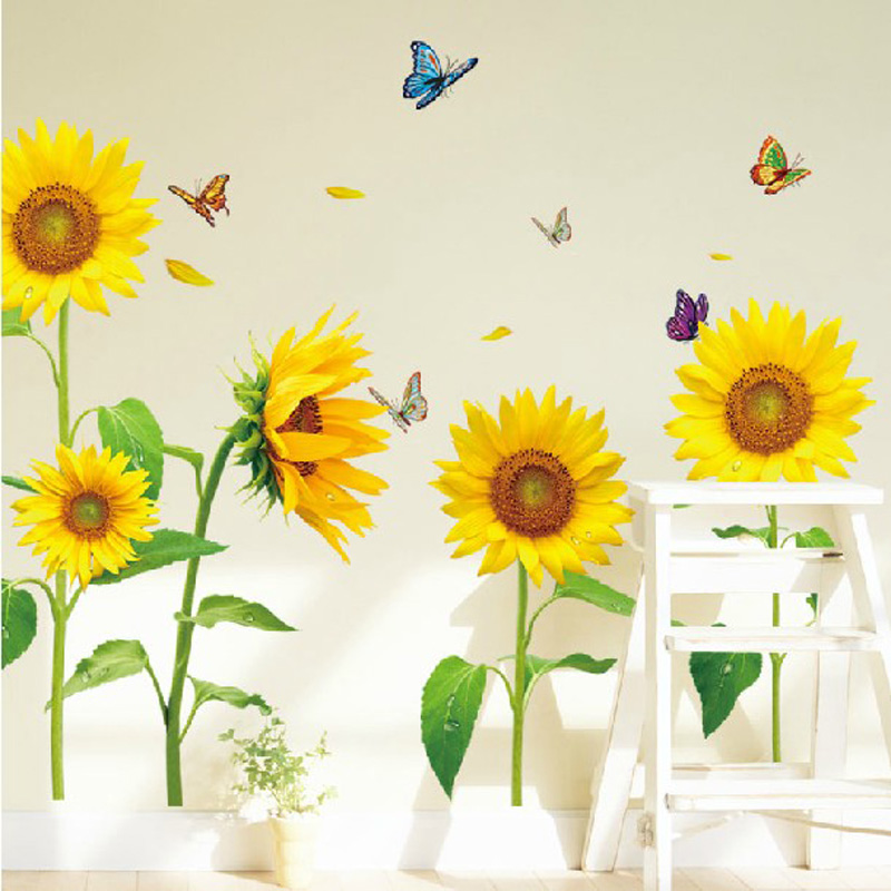 Online buy wholesale sunflower wall from china sunflower for Sunflower bedroom decor