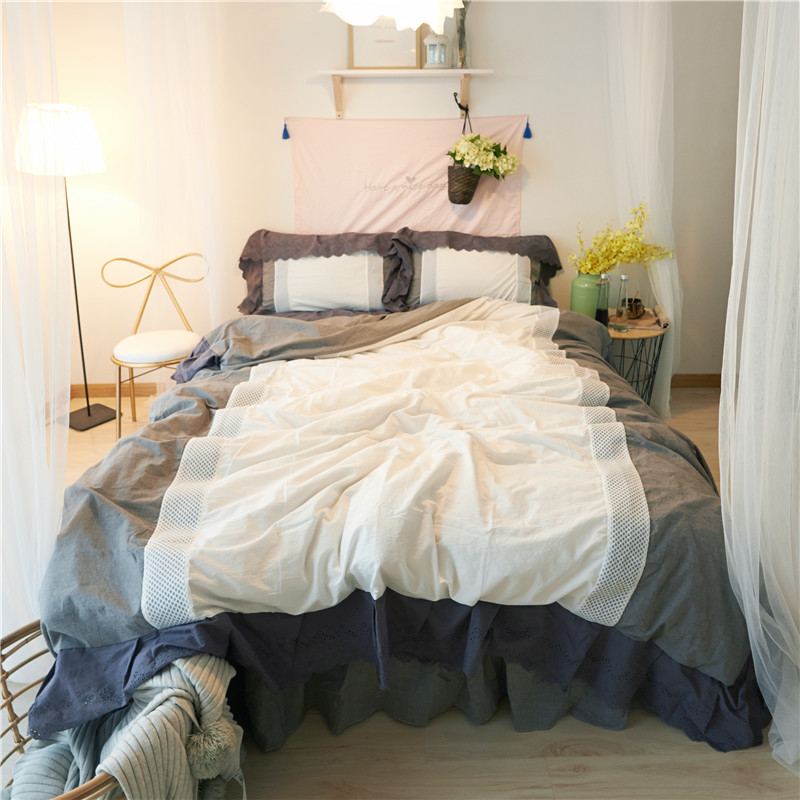 4Pcs Washed Cotton Princess Lace mesh Bedding Set Yarn Dyed Hollow Ruffles Duvet cover set Bed Skirt Pillowcases Twin Queen King