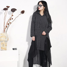 LANMREM 2019 New Fashion Spring And Summer Clothing Three Quarter Sleeves Striped Patchwork Chiffon Fake Two Pieces Dress WD1300(China)