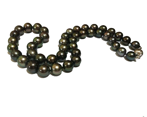 18″ inches  8.5-10mm Peacock Tahitian Pearl Necklace with Gold Corrugated Ball Clasp
