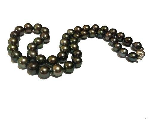 """18 """"zoll 8,5-10mm Pfau Tahitian Perle Halskette Mit Gold Well Ball Verschluss Starker Widerstand Gegen Hitze Und Starkes Tragen"""