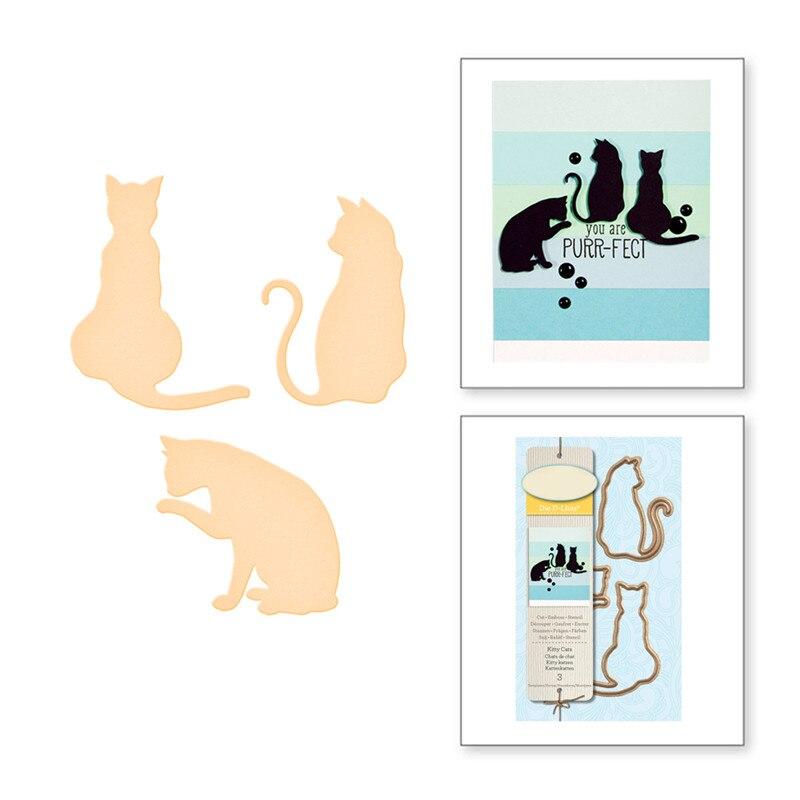 Naifumodo Animals Cat Metal Cutting Dies Scrapbooking Cute Profile Die Cut for DIY Card Making Craft New 2019