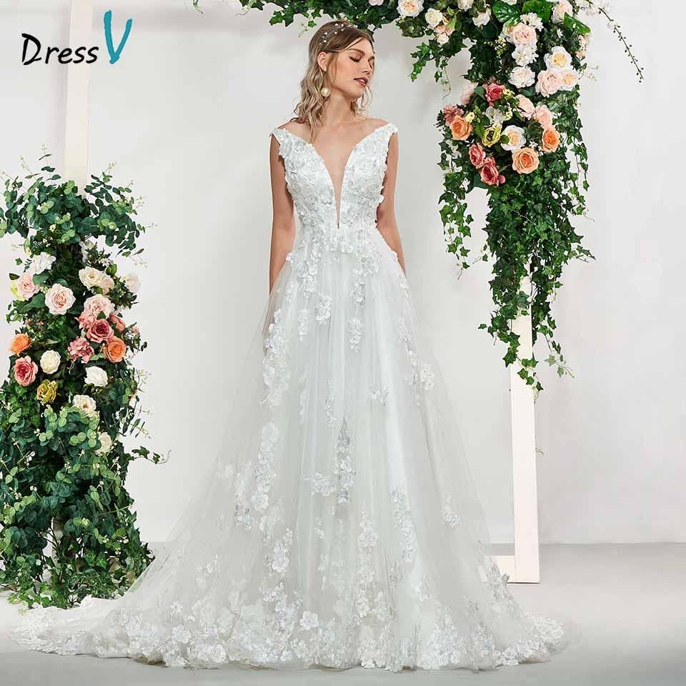 Dressv Ivory Appliques A Line Elegant V Neck Flowers Sleeveless Wedding Dress Floor Length Simple Bridal Gowns Wedding Dresses