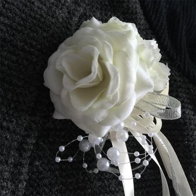DIY Groom Boutonniere Bride Wrist Corsage Prom Ivory Sister Hand Flower Wedding Flowers Rose