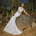 New Arrival Unique Lace 2 Pieces Wedding Dresses with Half Sleeve Sexy Hot Long Bridal Gown Vestido de Noiva Made
