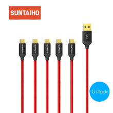 Suntaiho [5 PACK] Micro USB Cable 5V2.5A Fast Charge For Samsung Xiaomi 90cm 25cm Nylon Sync Data usb Cable for Huawei Phone