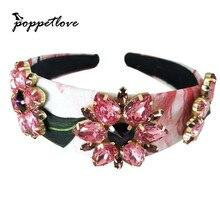 Luxury Baroque Red Color Crown Tiara Hair Jewelry Fashion Women Wedding Headband Hairband For Hair Accessories
