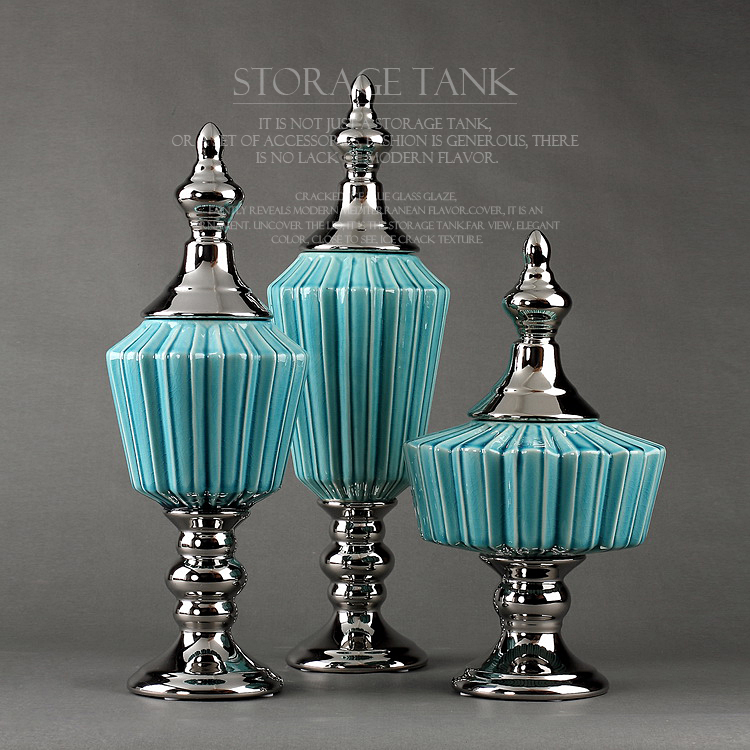 blue decorative storage tank cracked ice blue glazed ceramic storage jar with lid ceramic ornaments modern home decors