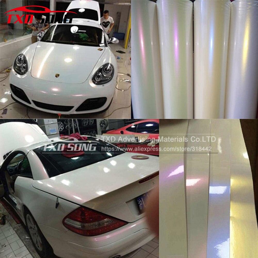 50cm*152cm/Lot Car Styling Glossy Pearl White Chameleon Vinyl Film Wrap High Poly Metallic Chrome Pearl Car Stickers