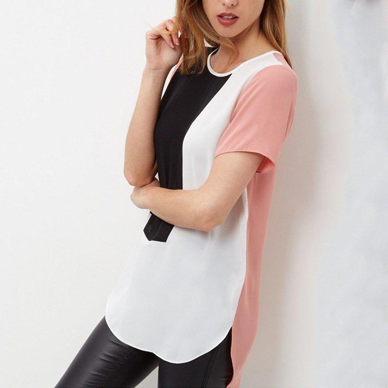 Loose Women Casual Largo Blusas Patchwork Blusa de La Gasa Tops Camisa Femenina