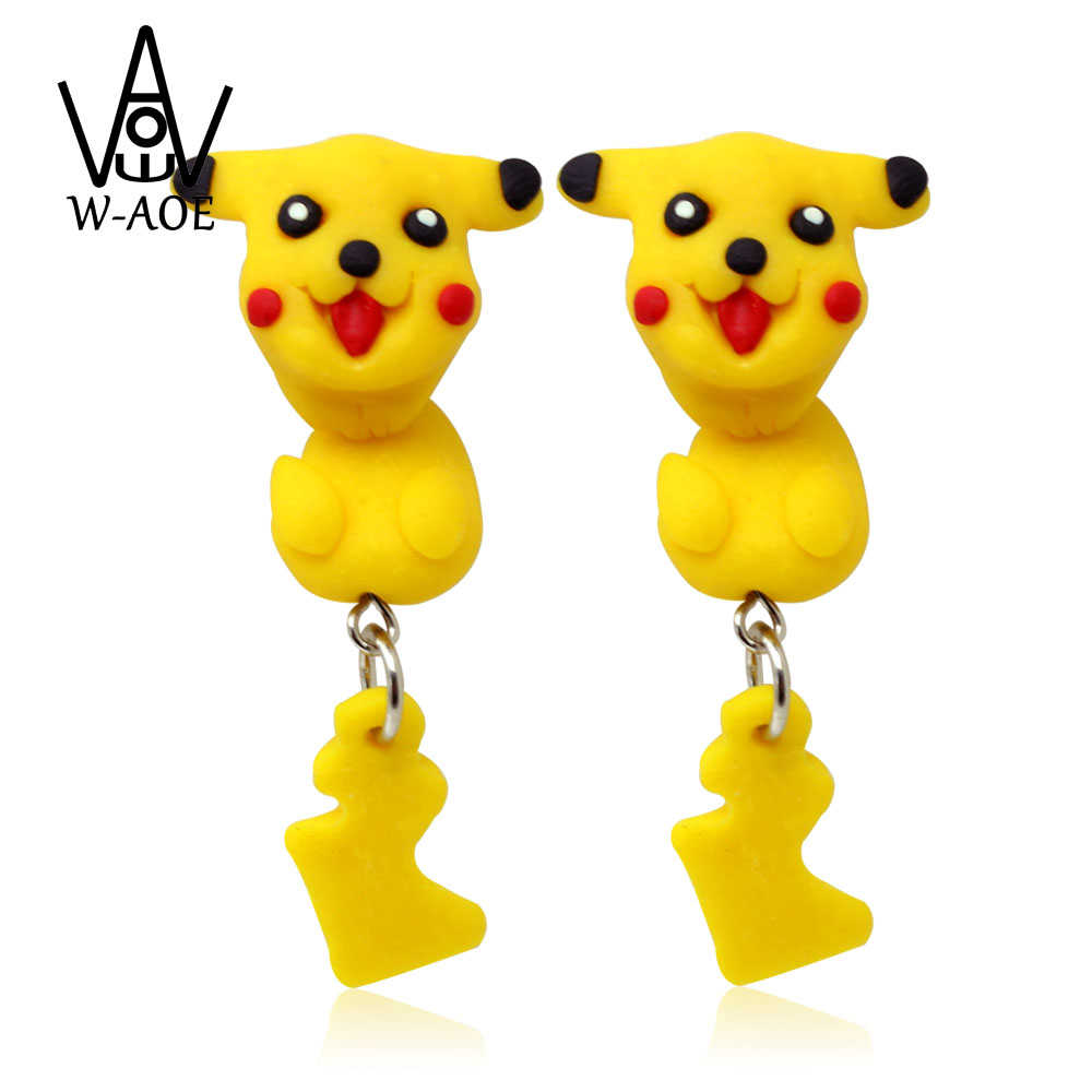 W-AOE Cute Pokemon Pikach Stud Earring New Fashion Jewelry Lovely Polymer Clay Cartoon 3D Animal Earrings For Women Girl Gift
