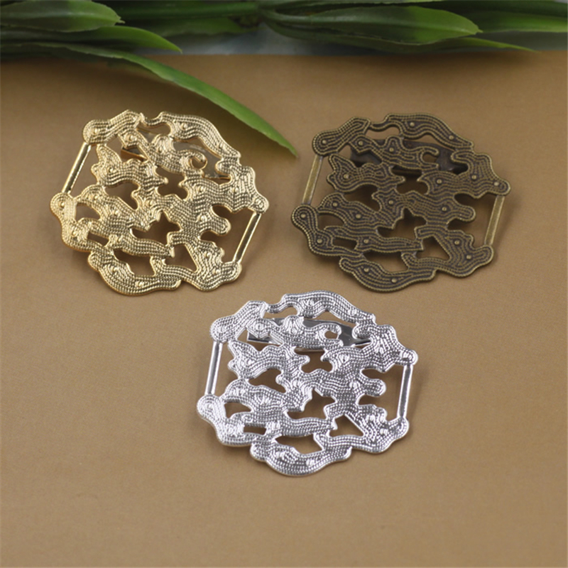 10Pcs 3 Colors Plated 33*31MM Hollow Out Flower Brooch Base Diy Jewelry Accessary
