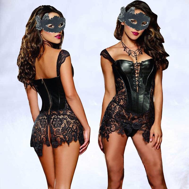 Sexy Lingerie Women Black Faux Leather&Lace Burlesque Steampunk   Corset   Dress Waist Gothic   Bustier   Corpet Plus Size