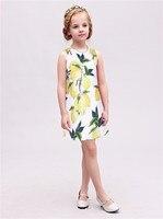 Milan Creations Girls Dresses Summer 2016 Brand Girls Costumes Princess Dress Children Lemon Pattern Kids Dresses