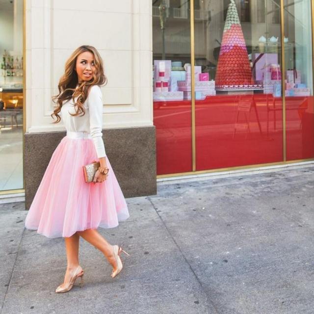 d11627e22 € 40.1 |Moda Rosa tul faldas MEDIADOS DE longitud faldas de tutú de alta  calidad de encargo de dama de honor de boda falda de cintura en Faldas de  ...