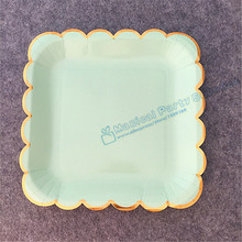 80pcs Mint Foil Gold 9 Square Paper Plates Cake Dessert Appetizers Sturdy Wax Coated Excellent Quality Party