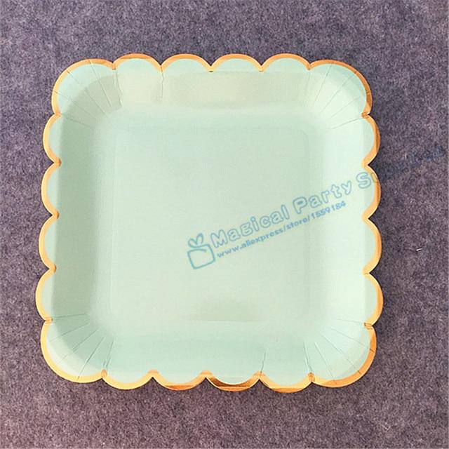 80pcs Mint Foil Gold 9  Square Paper Plates Cake Dessert Appetizers Sturdy Wax Coated Excellent & 80pcs Mint Foil Gold 9