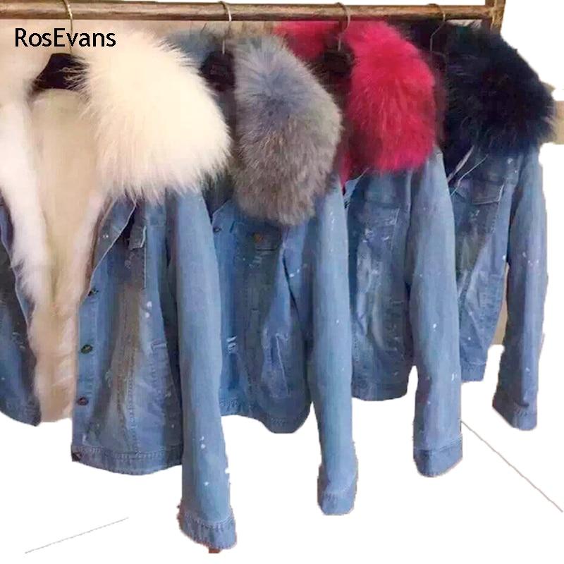 Bana Flowers Store RosEvans 2017 Korean Winter Women Faux Fox fur Lined Denim Jeans Thicken Warm Jacket Faux Raccoon Fur Female Jacket Overcoat B78