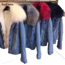 RosEvans 2017 Korean Winter Women Faux Fox fur Lined Denim Jeans Thicken Warm Jacket Faux Raccoon Fur Female Jacket Overcoat B78