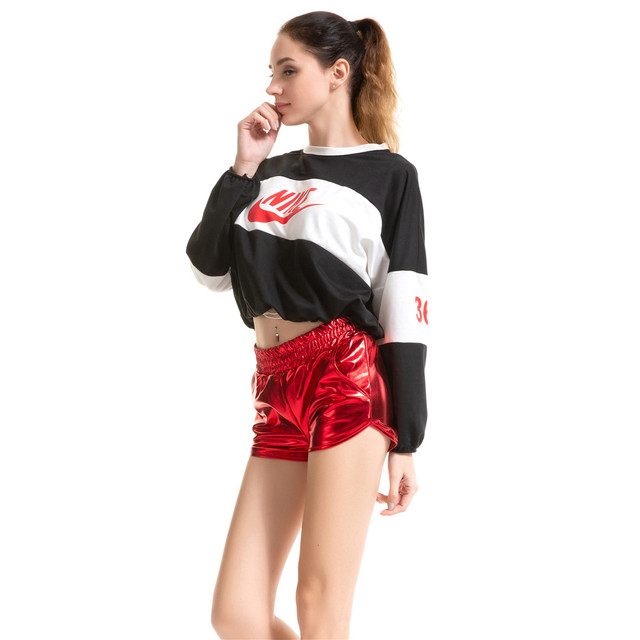 booty shorts women 2019 Pu light Pure color Middle-waisted Locomotive girl short feminino spodenki damskie spodenki biker shorts