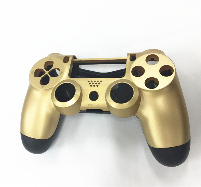 Купить с кэшбэком Front+Back Housing Replace Shell Case Upper Under Cover Protector Skin for PlayStation 4 PS4 Gaming Controller Golden Color