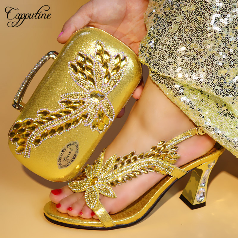 Capputine Gold Color Italian Shoes With Matching Bags High Quality Shoes and Bag Set African Sets 2018 Ladies Party Shoes TX-737 capputine 2018 summer african rhinestone shoes and bag set italian ladies high heels shoes and bag set for party tx 1136