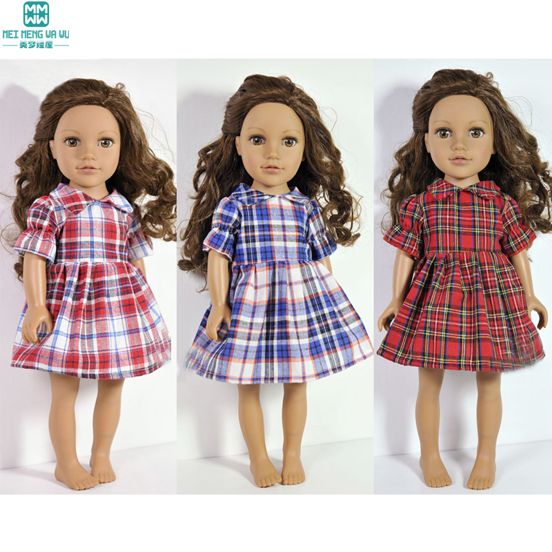 Doll clothes plaid dress Clothes for dolls fits 45 cm American doll and new born doll accessories