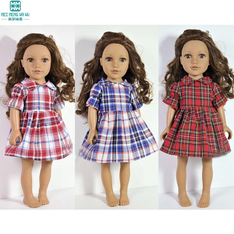 Poppenkleertjes geruite jurk Kleding voor poppen past 45 cm meisjespop en baby-geboren Zapf-pop