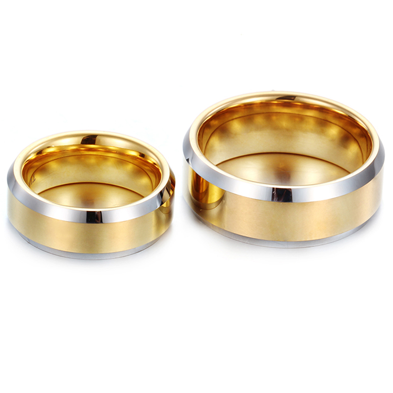 Gold-Color Lovers Ring Quality Tungsten Carbide Wedding Engagement Ring for Women and Men Couple Alliance Ring