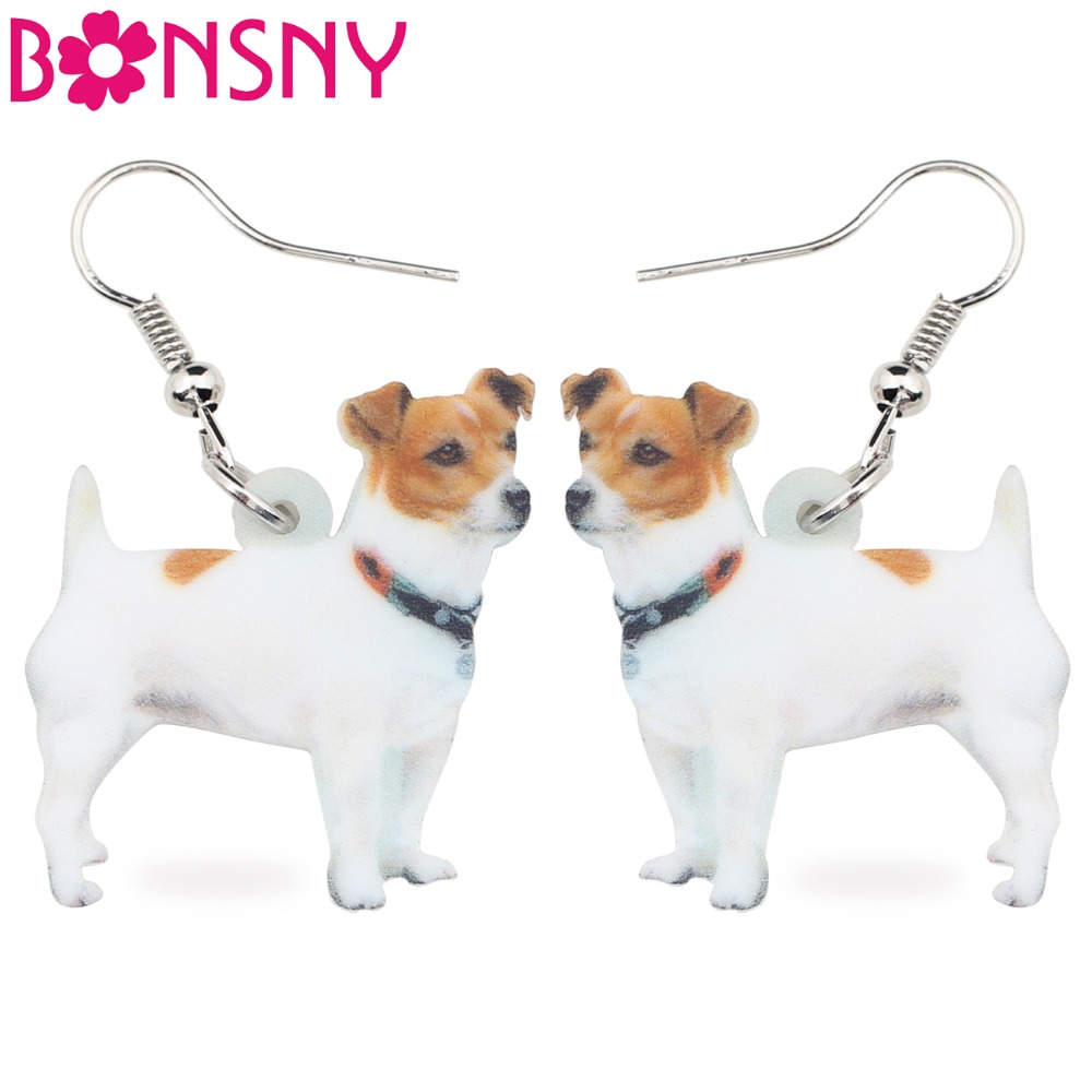 Bonsny Statement Acrylic Jack Russell Dog Earrings Drop Big Long Dangle Animal Jewelry For Girls Women Ladies Cheap Accessories