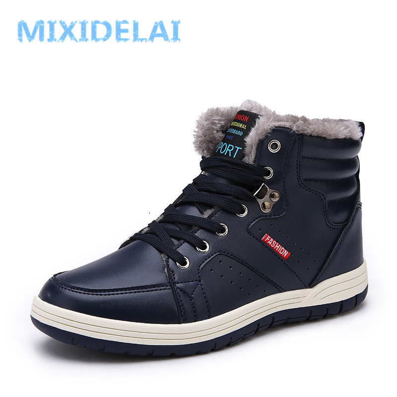 MIXIDELAI 2019 Mode Hommes Hiver bottes de neige Garder bottes chaudes En Peluche bottine Neige chaussures de travail décontracté Hommes bottes de neige de Taille 39-48