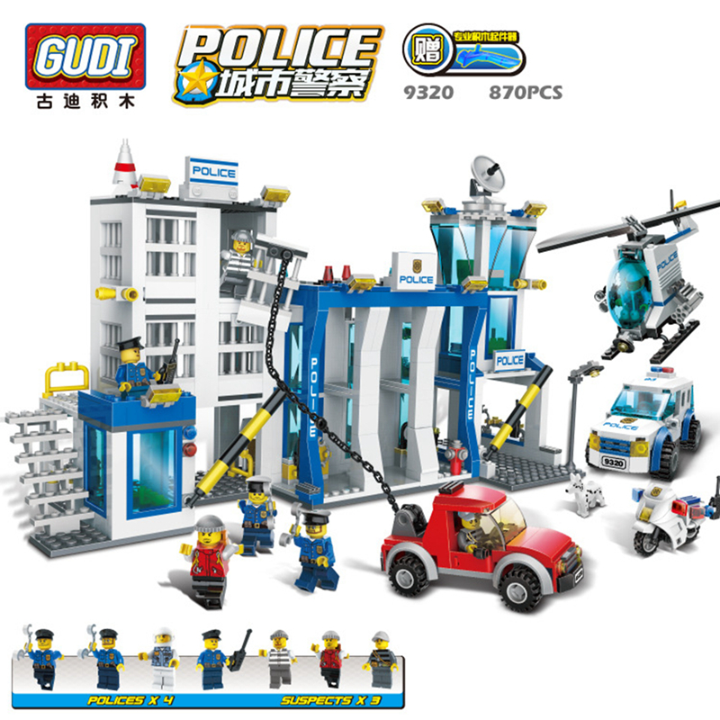 GUDI City police station 870pcs+ Educational diy Building Blocks Kids Toy Compatible With bricks Birthday Gift Brinquedos 9320 442pcs police station building blocks bricks educational helicopter toys compatible with legoe city birthday gift toy brinquedos