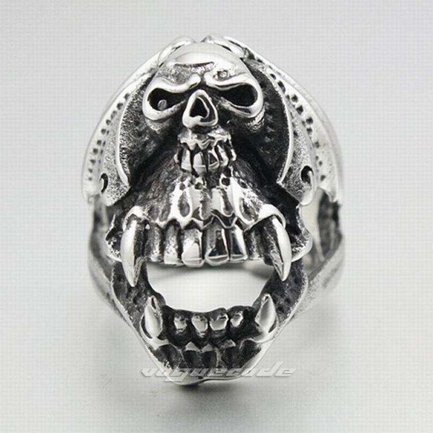 Cool 316L Stainless Steel Skull Men`s Biker Ring 3C002