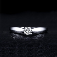 JewelryPalace Lovely 0.2ct Solitaire Engagement Ring Genuine 925 Sterling Silver Rhodium Plated Jewelry For Girl