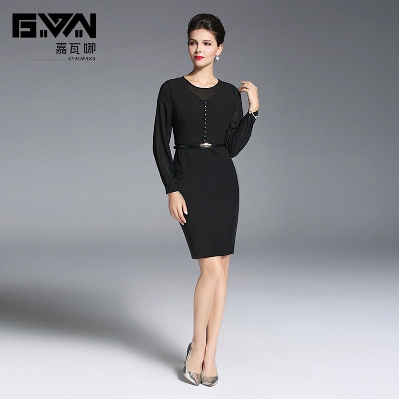 O Mujer Lápiz De Manga Negro Pieza Lujo Cordón Señora Larga Nuevo Oficina Vestido Una 2019 cuello Vestidos La Básico WtRwqZF0B