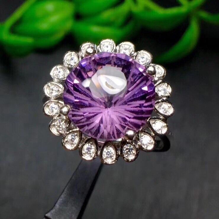 Кольцо с натуральным аметистом Для мужчин Для женщин кольца Бесплатная доставка природный натуральный аметист 925 Серебро Gem размер 10*10 мм