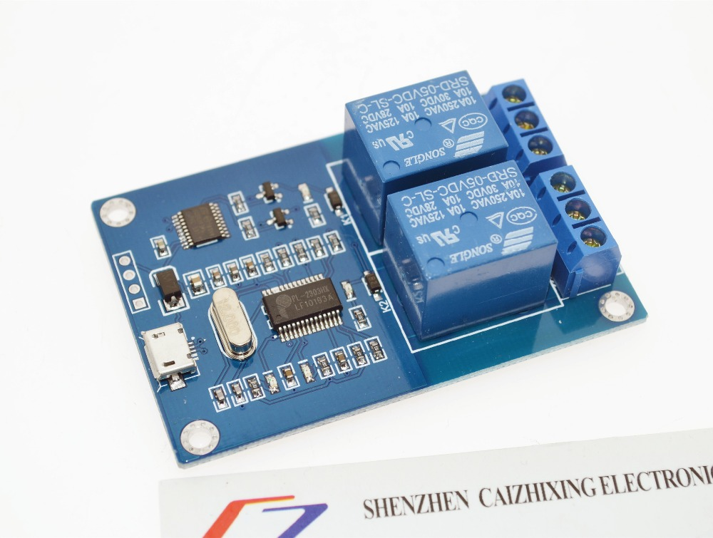 MICRO USB Relay Module 5v 2 Channel Relay Module, Relay control panel with indicator 2way Relay output usb interface
